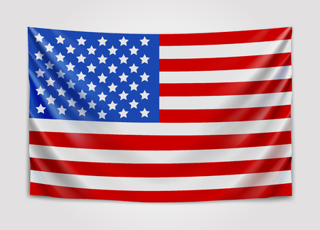 Hanging flag of USA. United States of America. National flag concept.