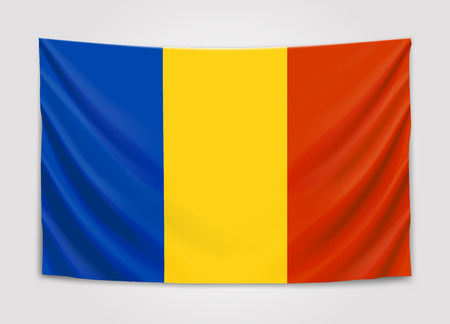 europe closeup: Hanging flag of Romania. Romania. National flag concept.