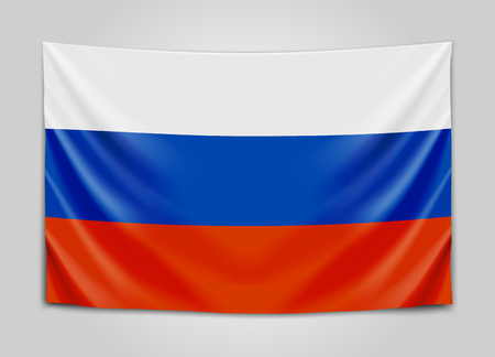 Hanging flag of Russia. Russian Federation. National flag concept.