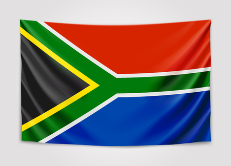 Hanging flag of South Africa. Republic of South Africa. RSA national flag concept. Illustration
