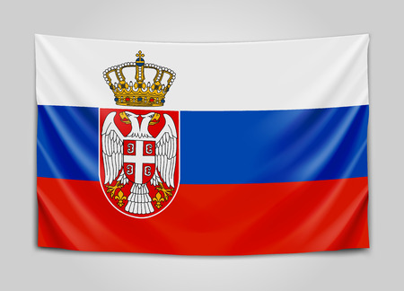 Hanging flag of Serbia. Republic of Serbia. National flag concept.