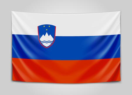 europe closeup: Hanging flag of Slovenia. Republic of Slovenia. National flag concept. Illustration