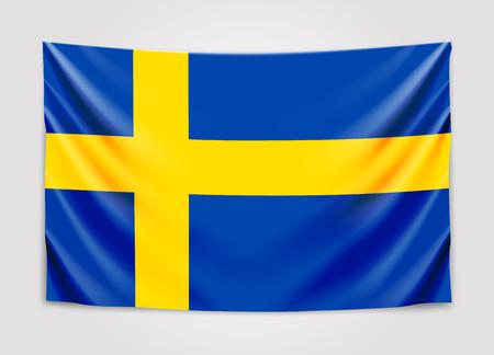 Hanging flag of Sweden. Kingdom of Sweden. National flag concept. Illustration