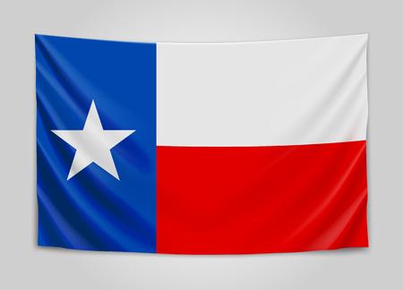 houston flag: Hanging flag of Texas. State flag concept.