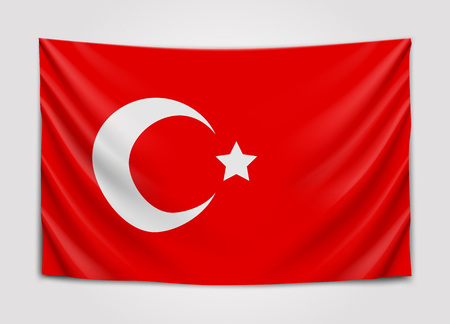 Hanging flag of Turkey. Republic of Turkey. National flag concept.