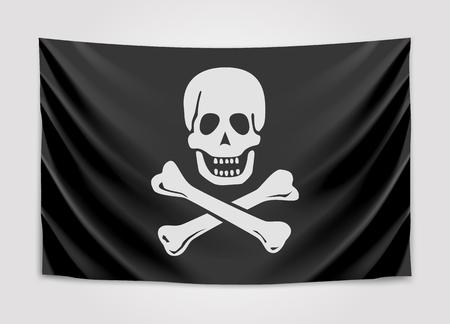 Hanging black pirate flag. Roger. Vector illustration
