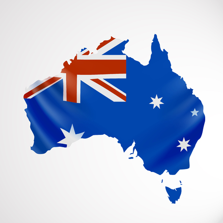 Hanging Australia flag in form of map. Commonwealth of Australia. National flag concept.