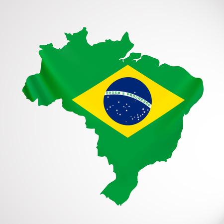 federative republic of brazil: Hanging Brazil flag in form of map. Federative Republic of Brazil. Brazilian national flag concept. Illustration