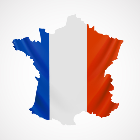 wallpaper vibrant: Hanging France flag in form of map. French Republic. French national flag concept.