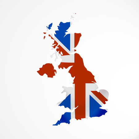 Great Britain flag in form of map. United Kingdom of Great Britain and Northern Ireland. British national flag concept.