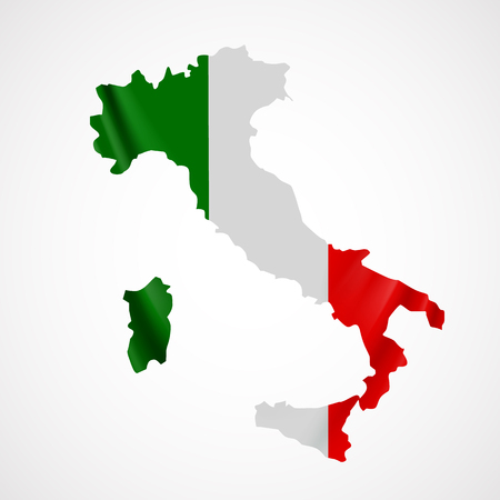 national identity: Hanging Italy flag in form of map. Italian Republic. National flag concept.