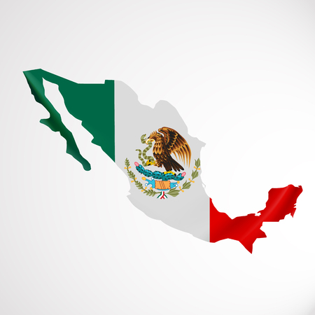 Hanging Mexico flag in form of map. United Mexican States. National flag concept.