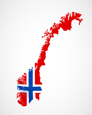 Hanging Norway flag in form of map. Kingdom of Norway. National flag concept. Illustration