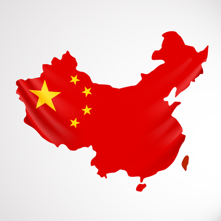 China flag in form of map. People Republic of China. National flag concept.