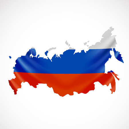 Hanging Russia flag in form of map. Russian Federation. National flag concept.