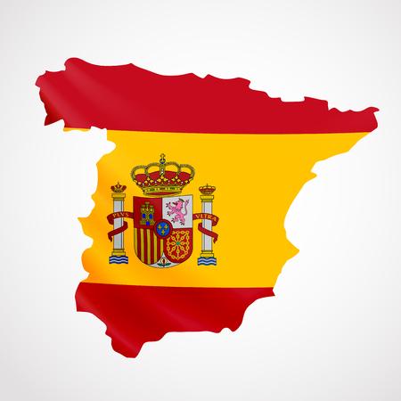 Hanging Spain flag in form of map. Kingdom of Spain. National flag concept. Illustration