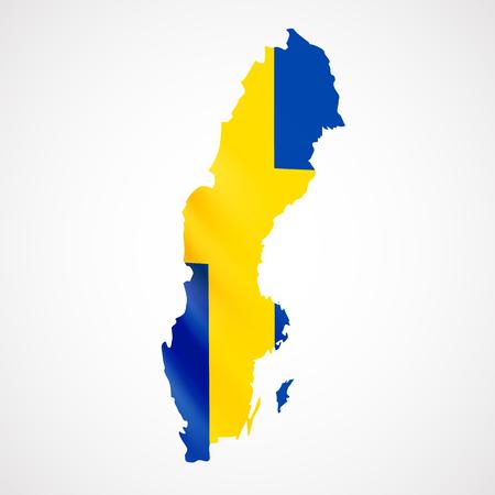 Hanging Sweden flag in form of map. Kingdom of Sweden. National flag concept.