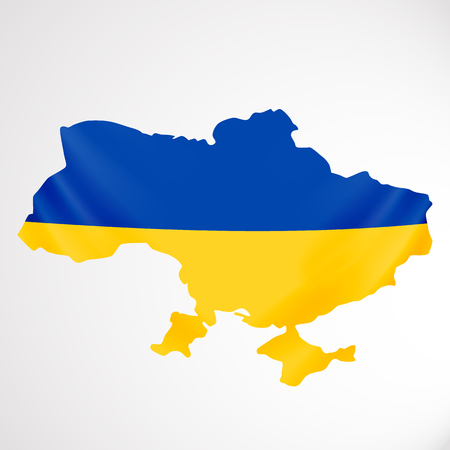 hung: Ukraine flag in form of map. Ukraine. National flag and map concept.