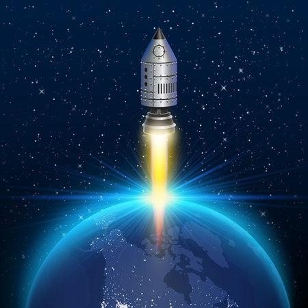 liftoff: Space rocket launch creative art . Vector illustration