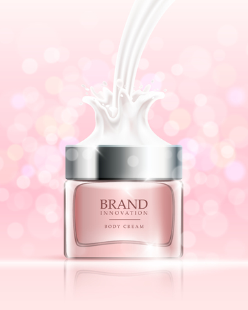 Beauty cream on pink bubbles background. Skin care product advertising concept for cosmetic industry. Vector illustration.