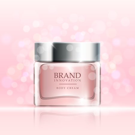 Crème de beauté sur fond rose bulles. concept de soins de la peau de la publicité des produits pour l'industrie cosmétique. Vector illustration.