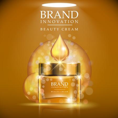productos de belleza: Botella de crema de oro con el casquillo de oro colocado en un fondo marrón claro. Brillante gota de crema de oro por encima de la botella. Producto de belleza concepto de publicidad para la industria cosmética. Ilustración vectorial.