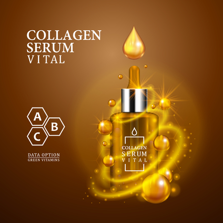 Vital serum golden dropper bottle on light brown background. Realistic bottle view with magic vital drops and glitters. Vitamin formula treatment design. Advertising concept. Vector illustration.