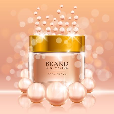 Piękno śmietanka z perłami i bąblami na brzoskwini tle. Koncepcja reklamy produktów do pielęgnacji skóry dla przemysłu kosmetycznego. Ilustracji wektorowych.