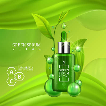 elixir: Vital serum dropper bottle decorated with green leaves on juicy green background. Skin care vitamin formula treatment design. Beauty product concept. Vector illustration.