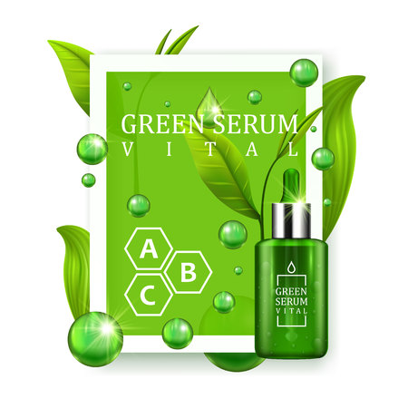 dropper: Vital serum dropper bottle decorated with green leaves on white background. Skin care vitamin formula treatment design.