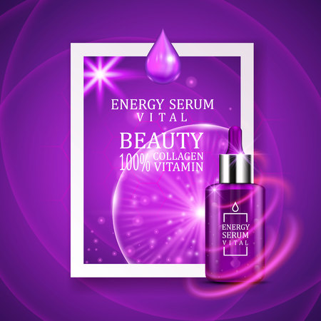 face treatment: Vital serum dropper bottle on shining purple background. Realistic bottle view with magic vital drops and glitters. Skincare product design.