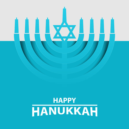 Hanukkah Menorah on Light Blue Background. Happy Hanukkah text typography. Vector illustration