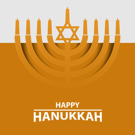 Hanukkah Menorah on Light yellow Background. Happy Hanukkah text typography. Vector illustration