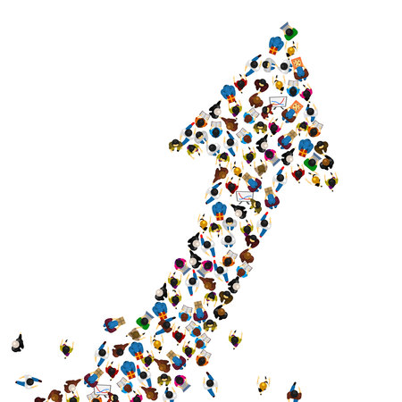 Large group of people in the shape of a grossing arrow, Way to success bussiness concept, Vector illustration Illustration