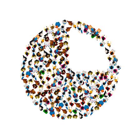 asociacion: Un grupo de personas en forma de icono de gráfico, aislado en fondo blanco. Ilustración del vector