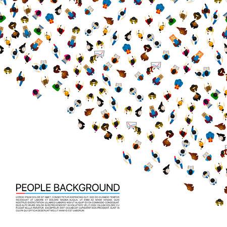 Muchedumbre grande de la gente en el fondo blanco. Ilustracion vectorial Ilustración de vector