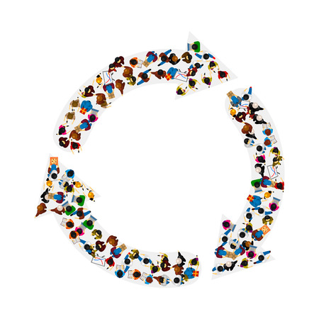 on top of the world: A group of people in a shape of arrows circulation, isolated on white background. Vector illustration