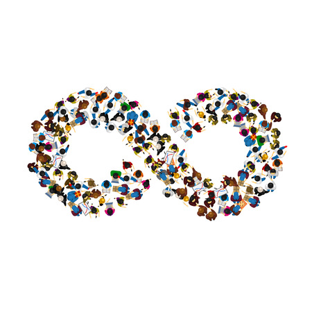 A group of people in a shape of infinity symbol on white background. Vector illustration Illustration