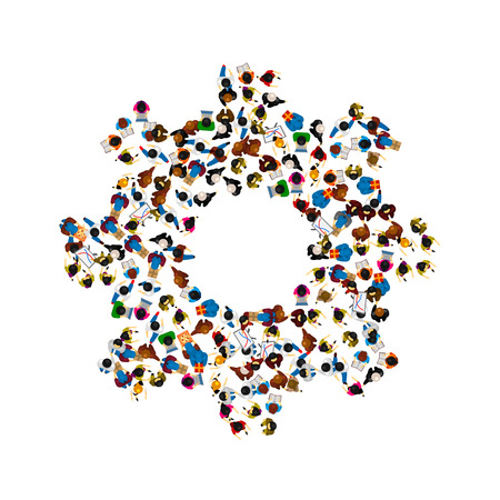 association: A group of people in a shape of cogwheel icon, isolated on white background. Vector illustration Illustration