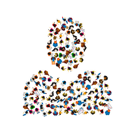 A group of people in a shape of person silhouette. Vector illustration.