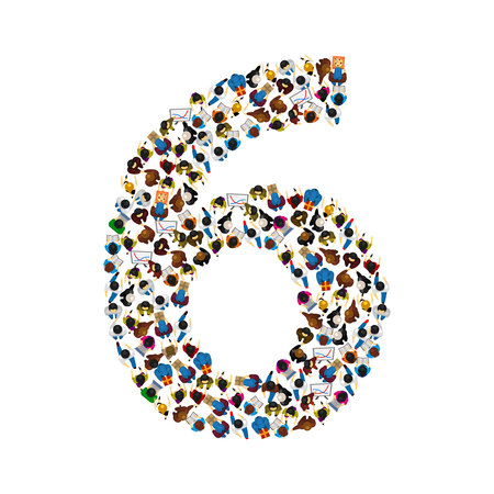 number of people: Large group of people in number 6 six form. People font. Vector illustration