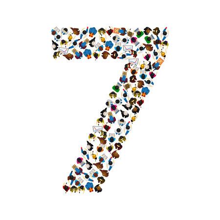 Grand groupe de personnes au numéro 7 sept forme. Police de caractères Illustration vectorielle