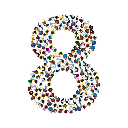 number of people: Large group of people in number 8 eight form. People font. Vector illustration