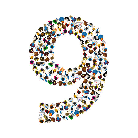 number of people: Large group of people in number 9 nine form. People font. Vector illustration