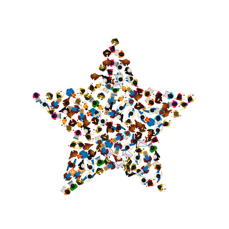 A group of people in a shape of a star. Vector illustration.