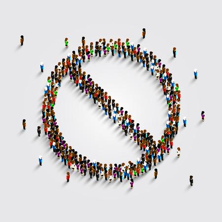 Ban symbool sjabloon. Verboden te ondertekenen veel mensen. Vector illustratie