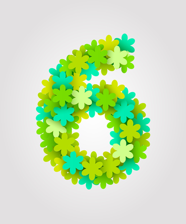 Floral numbers. Green flowers. Vector illustration. Number 6