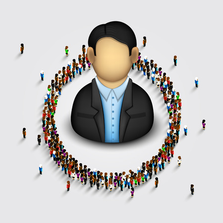 social gathering: Large group of people in the shape of circle. Vector illustration. Illustration