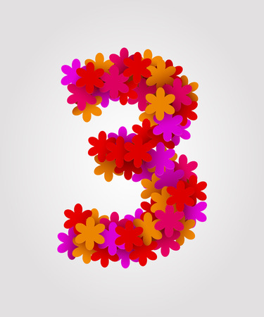 Floral numbers. Colorful flowers. Number 3 Illustration