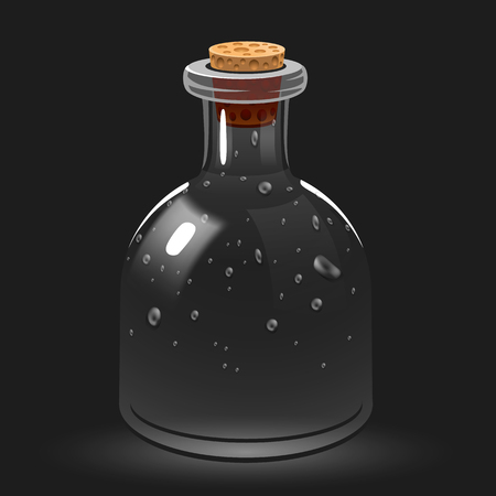 stopper: Empty glass chemistry or magic potion bottle.